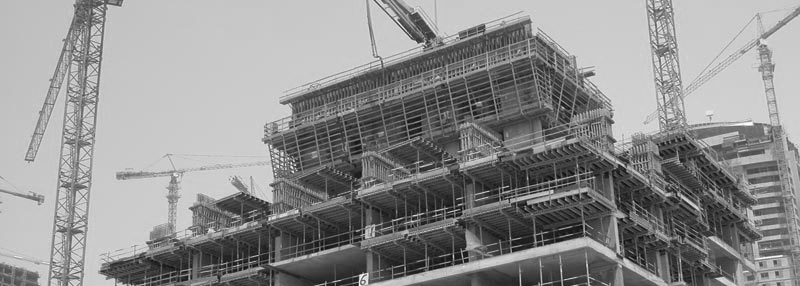 Процесс строительства здания